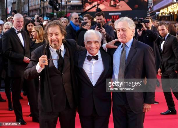 "Al Pacino, Martin Scorsese and Robert De Niro attend ""The Irishman"" International Premiere and Closing Gala during the 63rd BFI London Film Festival..."