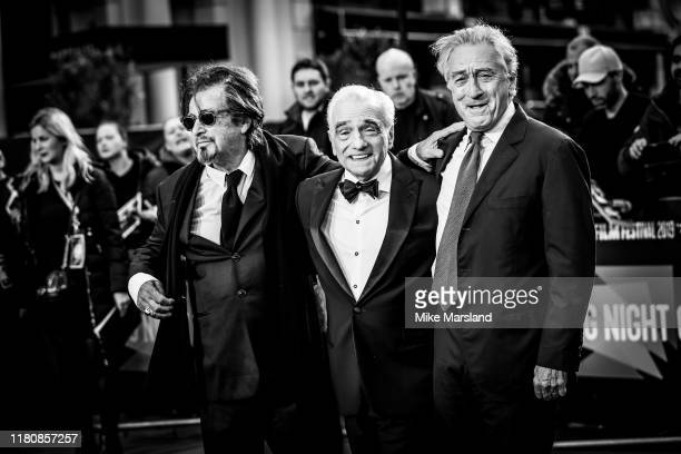 "Al Pacino, Martin Scorsese and Robert De Niro attend ""The Irishman"" International Premiere and Closing Gala during the 63rd BFI London Film Festival..."