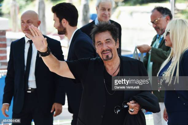 Al Pacino Monika Bacardi and Andrea Iervolino are seen on Day 4 of the 71st Venice International Film Festival on August 30 2014 in Venice Italy