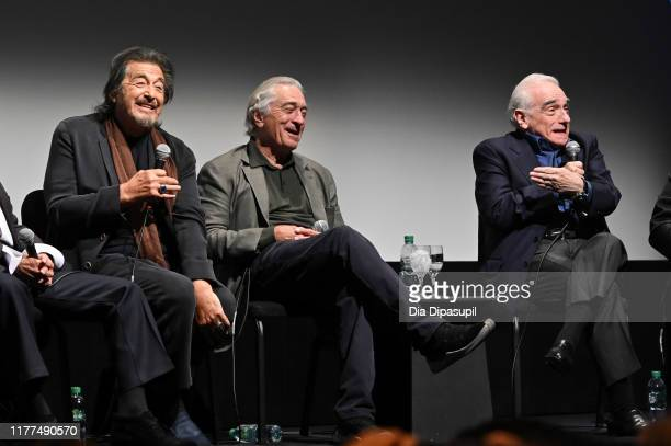 Al Pacino Robert De Niro and Martin Scorsese at The Irishman press conference during the 57th New York Film Festival at Alice Tully Hall Lincoln...