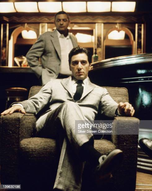 Al Pacino, US actor, sitting in an armchair in a publicity still issued for the film, 'The Godfather Part II', 1974. The mafia drama, directed by...