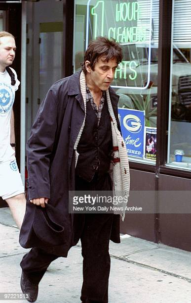 Al Pacino walks along Eighth Ave at 54th St where he is filming the movie 'Chinese Coffee' The scene is set in the winter which explains the warm...
