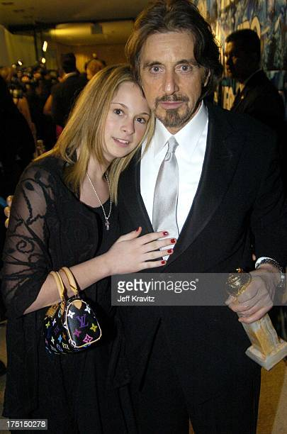 Al Pacino winner of the Golden Globe for Best Performance by an Actor in a MiniSeries Angels in America and daughter