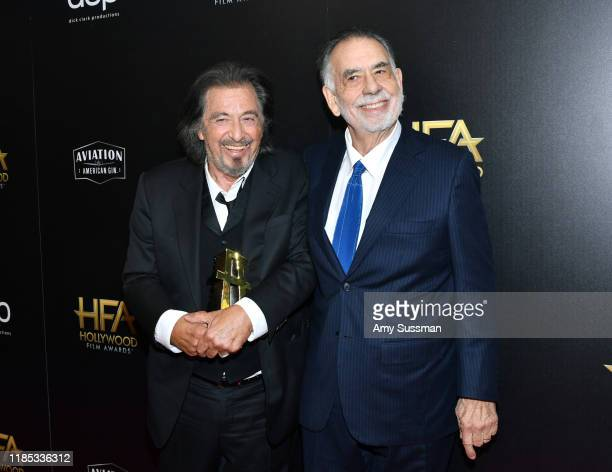 Al Pacino , winner of the Hollywood Supporting Actor Award and Francis Ford Coppola pose in the press room during the 23rd Annual Hollywood Film...