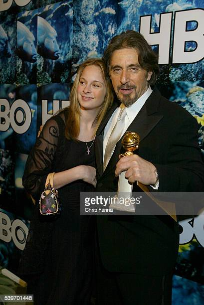 Al Pacino with his daughter and award at the HBO 2004 Golden Globes after party at Griff's