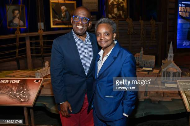 Al Roker and Chicago MayorElect Lori Lightfoot attend the HAMILTON THE EXHIBITION WORLD PREMIERE at Northerly Island on April 26 2019 in Chicago...