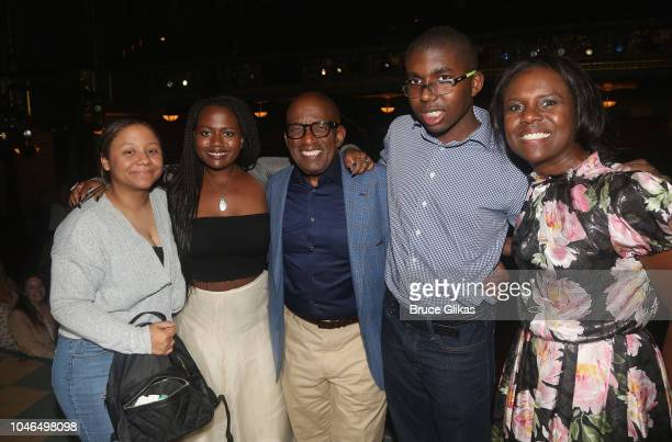 Al Roker and family pose backstage after Roker made his Broadway debut in the hit musical Waitress on Broadway at The Brooks Atkinson Theatre on...