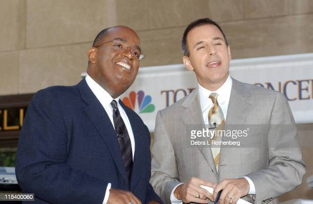 Al Roker and Matt Lauer during Al Roker On 'The Today Show Summer Concert Series' June 9th 2002 at Rockefeller Plaza in New York City New York United...