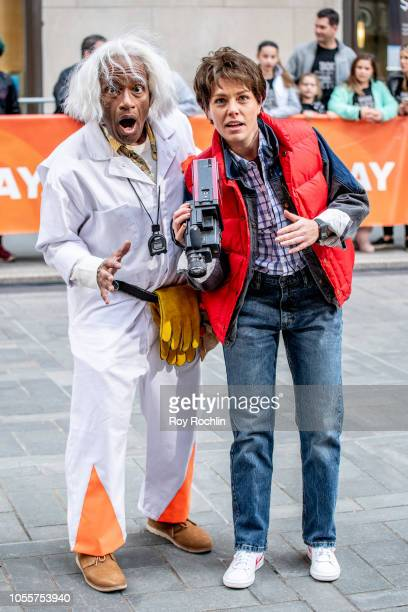 Al Roker as Emmett Lathrop Doc Brown and Dylan Dreyer as Marty McFly from Back to The Future during NBC Today Halloween 2018 show at Rockefeller...
