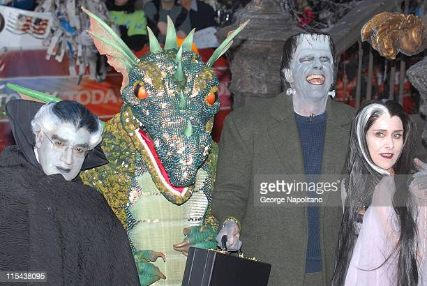 Al Roker as Grandpa Munster Tiki Barber as Spot the Dragon Matt Lauer as Herman Munster and Meredith Vieira as Lily Munster on October 31 2007 at...