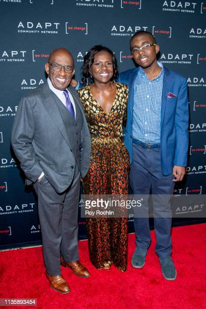 Al Roker Deborah Roberts and Nicholas Albert Roker attend the 2019 Adapt Leadership Awards at Cipriani 42nd Street on March 14 2019 in New York City