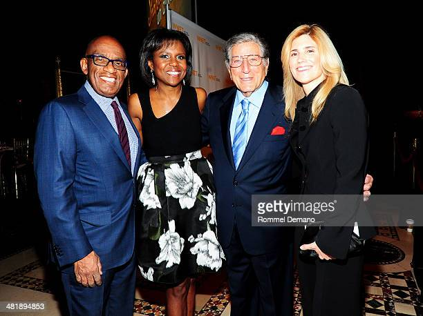 Al Roker Deborah Roberts Tony Bennett and Susan Crow attend the WNET 2014 Gala at Cipriani 42nd Street on April 1 2014 in New York City