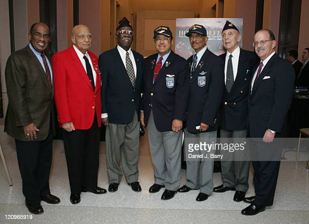 Al Roker left and Dan Davids President The History Channel right with Veterans of WWII at the screening of Honored Deferred February 6 2006 in New...