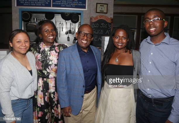 Al Roker poses backstage with his family as he makes his Broadway debut in the hit musical Waitress on Broadway at The Brooks Atkinson Theatre on...