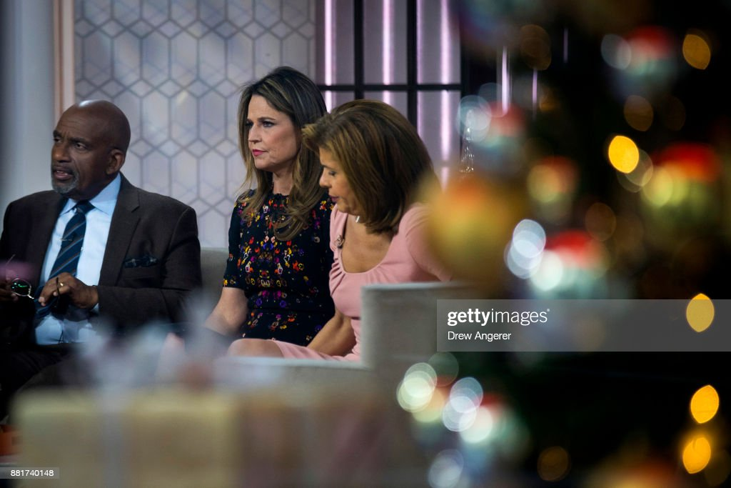 Al Roker, Savannah Guthrie and Hoda Kotb prepare for a segment on the set of NBC's Today Show, November 29, 2017 in New York City. It was announced on Wednesday morning that long time Today Show host Matt Lauer had been fired for alleged sexual misconduct.