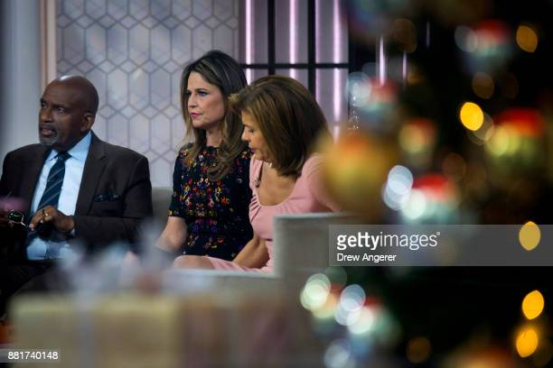 Al Roker Savannah Guthrie and Hoda Kotb prepare for a segment on the set of NBC's Today Show November 29 2017 in New York City It was announced on...