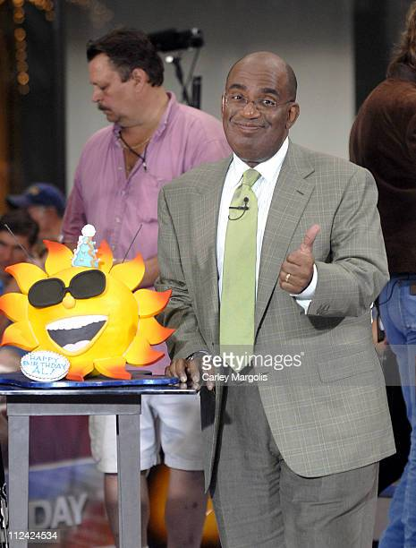 Al Roker with his birthday cake during Brooks and Dunn Perform on the 2006 ''Today'' Show Summer Concert Series at Rockefeller Center in New York...