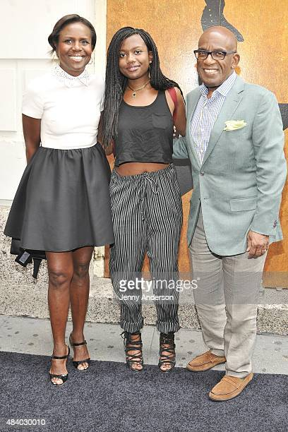 Al Roker with wife Deborah Roberts and daughter Leila Roker attend Hamilton Broadway Opening Night at Richard Rodgers Theatre on August 6 2015 in New...