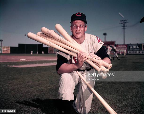 Al Rosen Holding Several Baseball Bats
