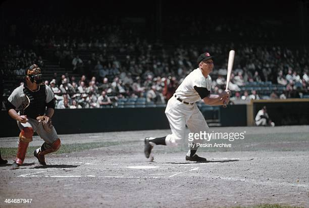 Al Rosen of the Cleveland Indians at bat at Cleveland Municipal Stadium circa 1955 in Cleveland Ohio