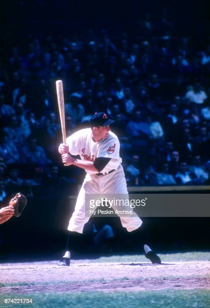 Al Rosen of the Cleveland Indians bats during an MLB game against the Chicago White Sox on May 26 1955 at Cleveland Municipal Stadium in Cleveland...
