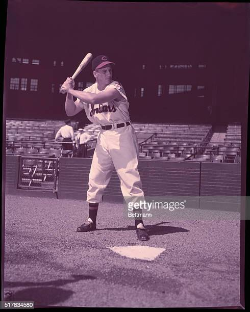 Al Rosen of the Cleveland Indians is shown in his stance waiting for the pitch