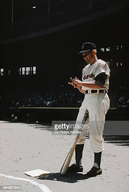 Al Rosen of the Cleveland Indians on deck at Cleveland Municipal Stadium circa 1955 in Cleveland Ohio