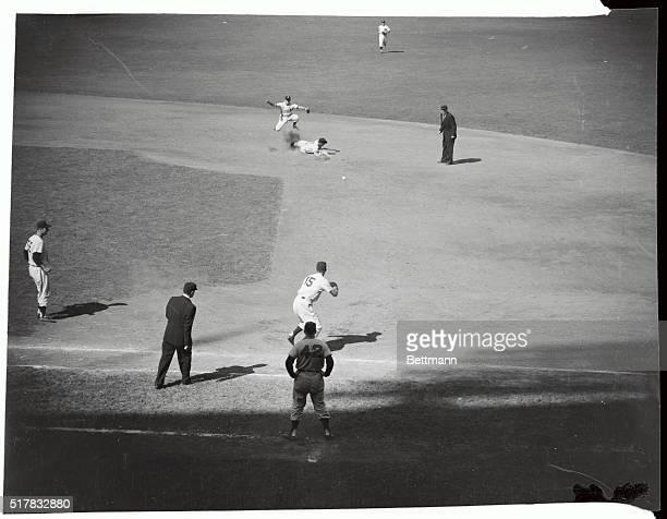 Al Rosen of the Cleveland Indians was forced at second when Bill Glynn hit into a double play in the 8th inning of today's game with the Yanks Joe...