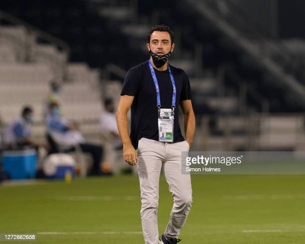 Al Sadd manager Xavi reacts during the AFC Champions League match between Al Ain FC and Al Sadd SC at Jassim Bin Hamad Stadium on September 15, 2020...