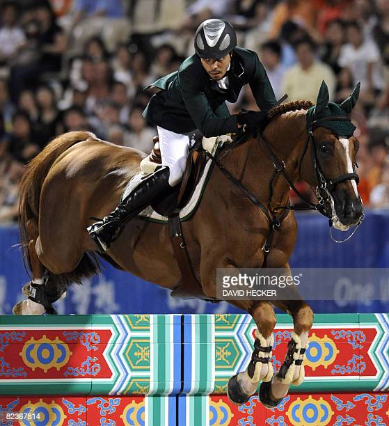 Al Shalan from Saudi Arabia riding 'Wido' competes in the Equestrian Jumping competition of the 2008 Beijing Olympic Games on August 15 2008 in Hong...