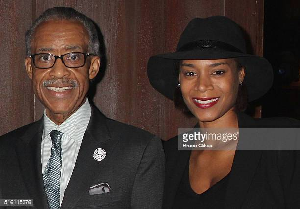 Al Sharpton and girlfriend Aisha McShaw pose backstage at the hit play Hughie on Broadway at The Booth Theatre on March 16 2016 in New York City