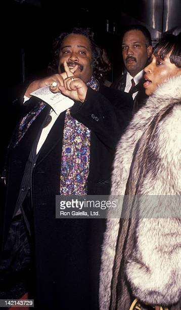 Al Sharpton and wife Kathy Jordan attend the premiere of Malcolm X on November 16 1992 at the Ziegfeld Theater in New York City