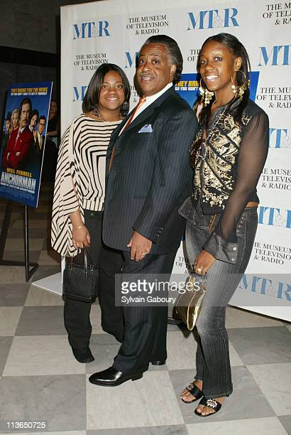 """Al Sharpton, Ashley Sharpton, Dominique Sharpton during Dreamwork's premiere of """"Anchorman: The Legend of Ron Burgundy"""" at Museum of Television and..."""
