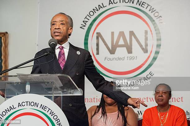 Al Sharpton delivers remarks at the National Action Network headquarters at an event commemorating the two year anniversary of Eric Garner's death...