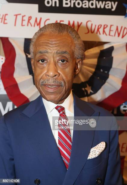 Al Sharpton poses at the opening night arrivals for 'Michael Moore 'The Terms Of My Surrender' on Broadway at The Belasco Theatre on August 10 2017...