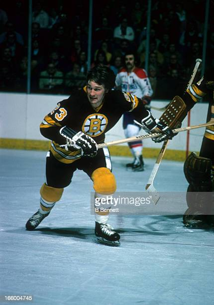 Al Sims of the Boston Bruins skates on the ice during an NHL game against the Washington Capitals on March 4, 1975 at the Capital Centre in Landover,...