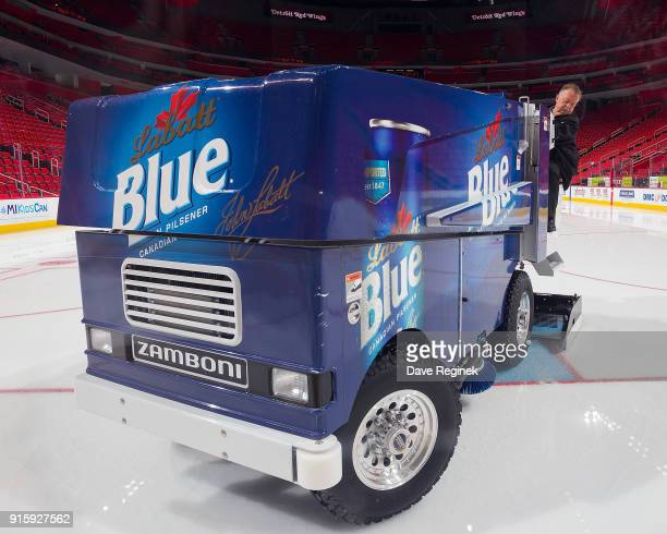 Al Sobotka building operations manager and Zamboni driver resurfaces the ice before an NHL game between the Detroit Red Wings and the Boston Bruins...