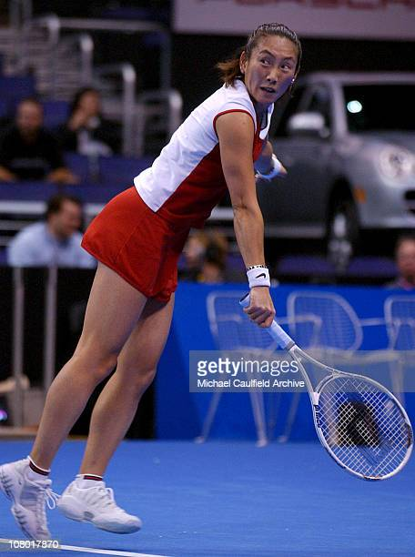 Al Sugiyama of Japan returns against Anastasia Myskina of Russia at the WTA Tour Championship November 7 2003 Myskina defeated Sugiyama 64 63