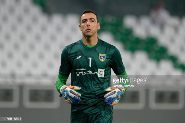 Al Taawoun goalkeeper, Cassio, in action during the AFC Champions League match between Al Duhail SC and Al Taawoun FC at Education City Stadium on...