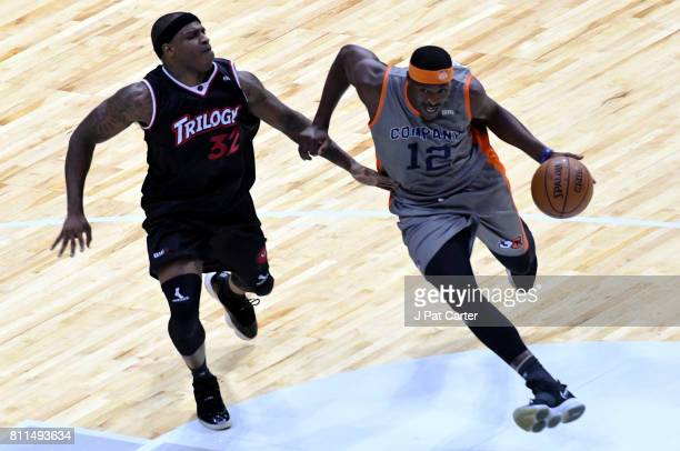Al Thornton of 3s Company dribbles the ball while being guarded by Rashad McCants of Trilogy during week three of the BIG3 three on three basketball...