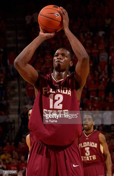 Al Thornton of the Florida State Seminoles shoots a free throw against the Maryland Terrapins on February 21, 2007 at Comcast Center in College Park,...