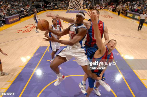 Al Thornton of the Los Angeles Clippers has his shot contested during the game against Regal FC Barcelona at Staples Center on October 19 2008 in Los...