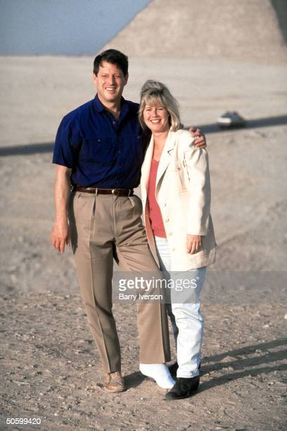 Al Tipper Gore visiting pyramids during UN Intl Conf on Population Development he w cast after heel surgery for torn Achilles' tendon
