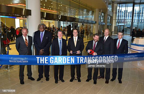 Al Trautwig Willis Reed Hank Ratner Governor Andrew Cuomo Jim Dolan Mark Messier and Gordon A Smith attend Madison Square Garden transformation...