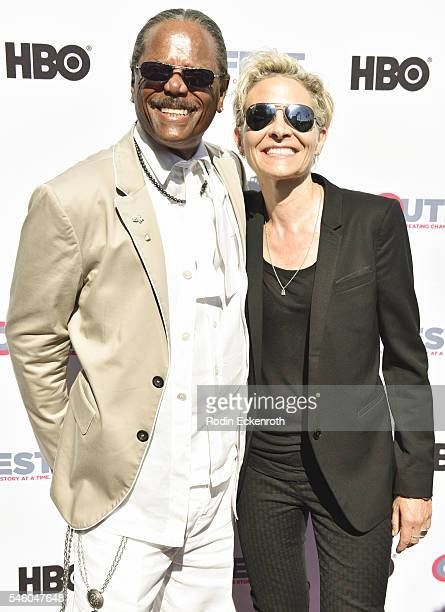 Al Von and director C Fitz attend 2016 Outfest Los Angeles LGBT Film Festival screening of Jewels Catch One at Harmony Gold Theatre on July 10 2016...