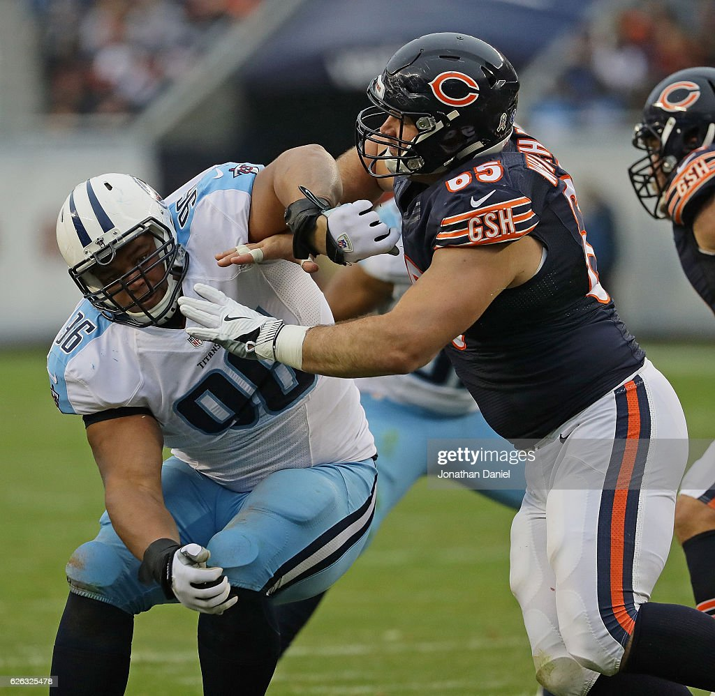 Al Woods #96 of the Tennessee Titans rushes against Cody Whitehair #65 of the Chicago Bears at Soldier Field on November 27, 2016 in Chicago, Illinois. The Titans defeated the Bears 27-21.