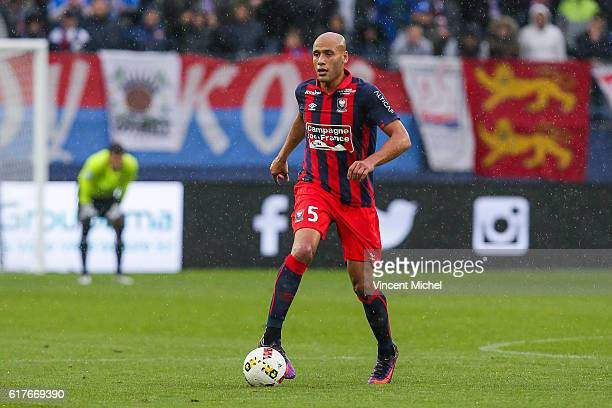Ala Eddine Yahia of Caen during the Ligue 1 match between SM Caen and AS Saint-Etienne at Stade Michel D'Ornano on October 23, 2016 in Caen, France.