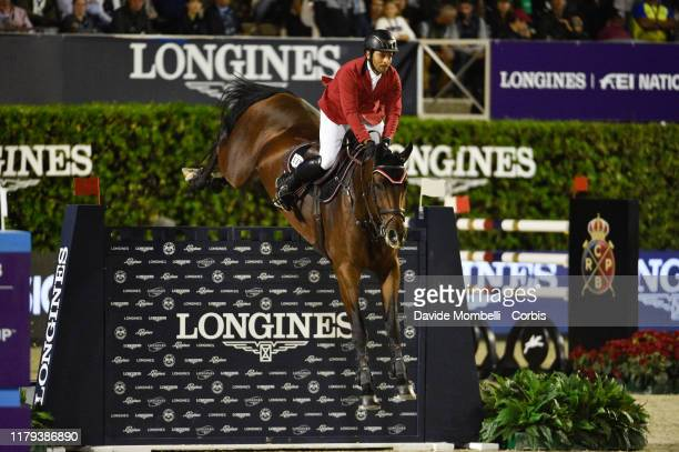 Alaa Mayssara riding DittorioS of Egypt during Longines FEI Jumping Nations Cup Final Challenge Cup on October 5 2019 in Barcelona Spain