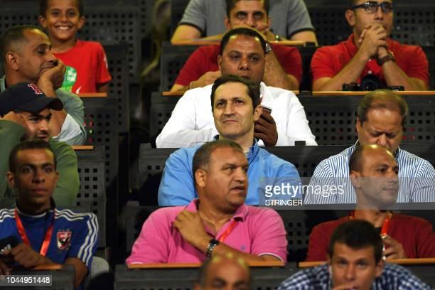 Alaa Mubarak son of Egypt's deposed president Hosni Mubarak attends the CAF Champions League semifinal first leg football match AlAhly vs ES Setif at...