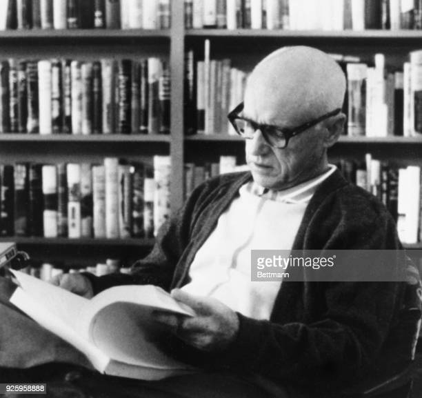 Alabama author William Bradford Huie of Hartselle looks over the manuscript of his unpublished book about James Earl Ray the convicted slayer of...